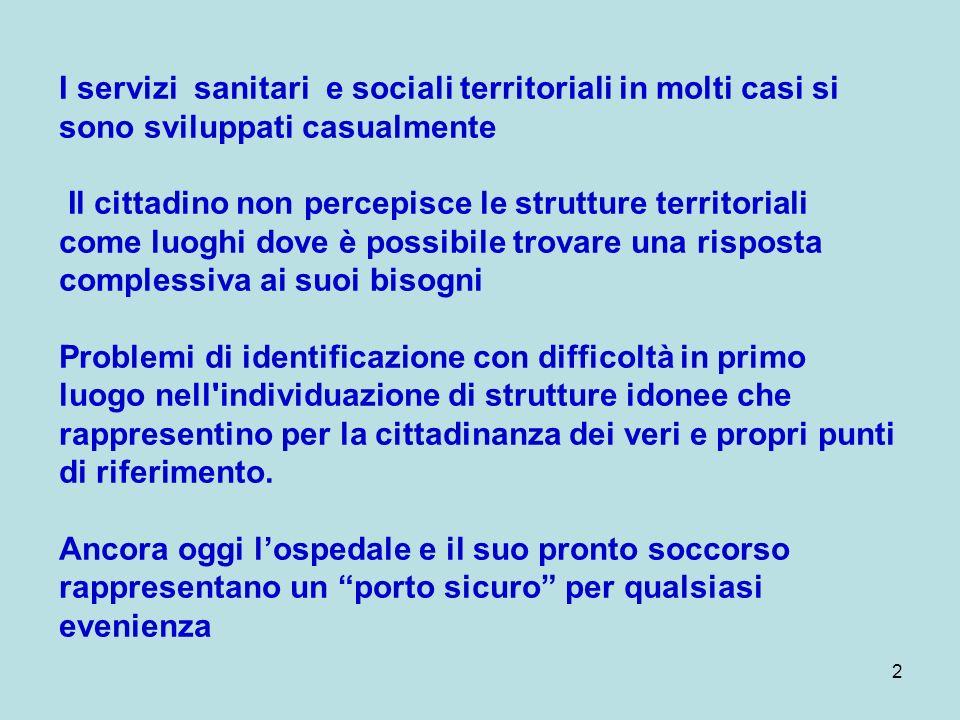 2 I servizi sanitari e sociali territoriali in molti casi si sono sviluppati casualmente Il cittadino non percepisce le strutture territoriali come lu