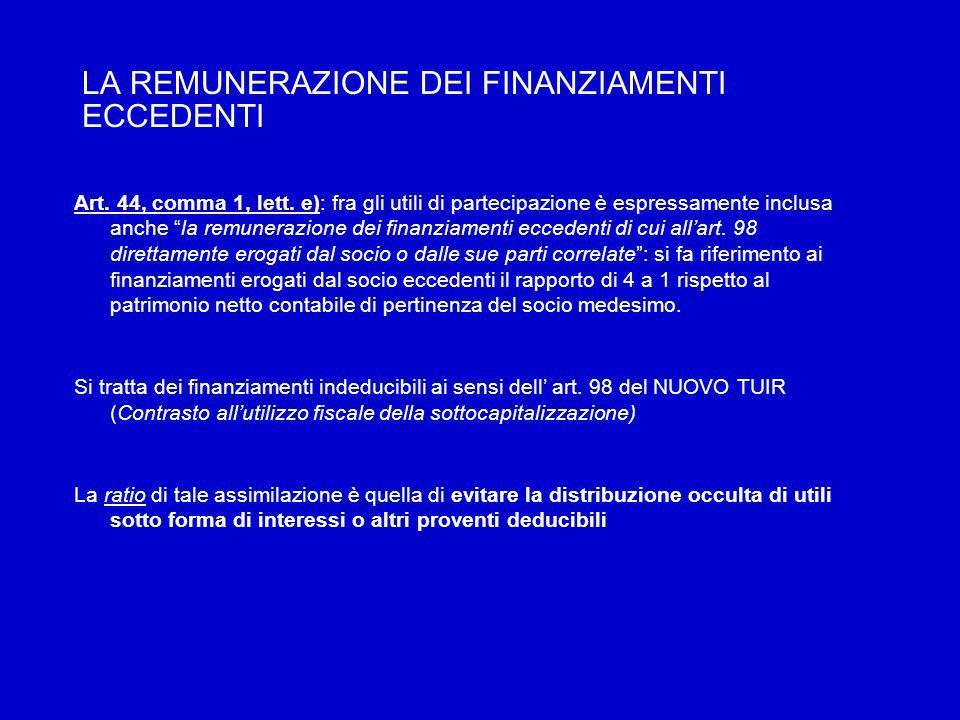 LA REMUNERAZIONE DEI FINANZIAMENTI ECCEDENTI Art. 44, comma 1, lett.