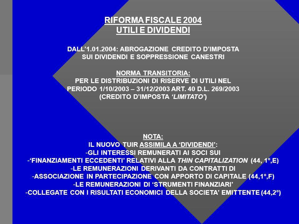 RIFORMA FISCALE 2004 UTILI E DIVIDENDI DALL1.01.2004: ABROGAZIONE CREDITO DIMPOSTA SUI DIVIDENDI E SOPPRESSIONE CANESTRI NORMA TRANSITORIA: PER LE DISTRIBUZIONI DI RISERVE DI UTILI NEL PERIODO 1/10/2003 – 31/12/2003 ART.
