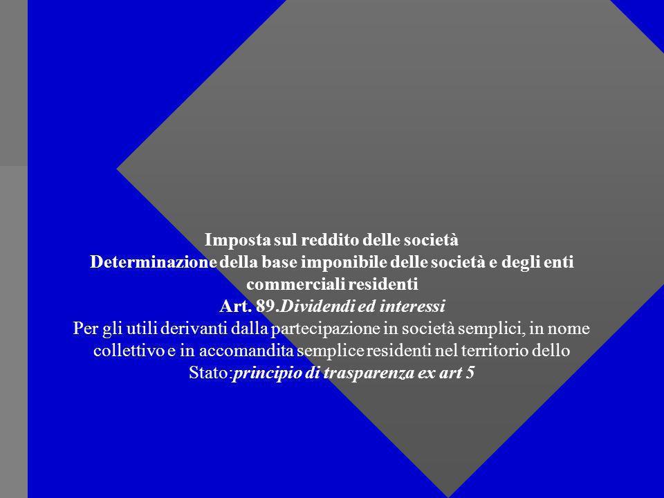 Imposta sul reddito delle società Determinazione della base imponibile delle società e degli enti commerciali residenti Art.