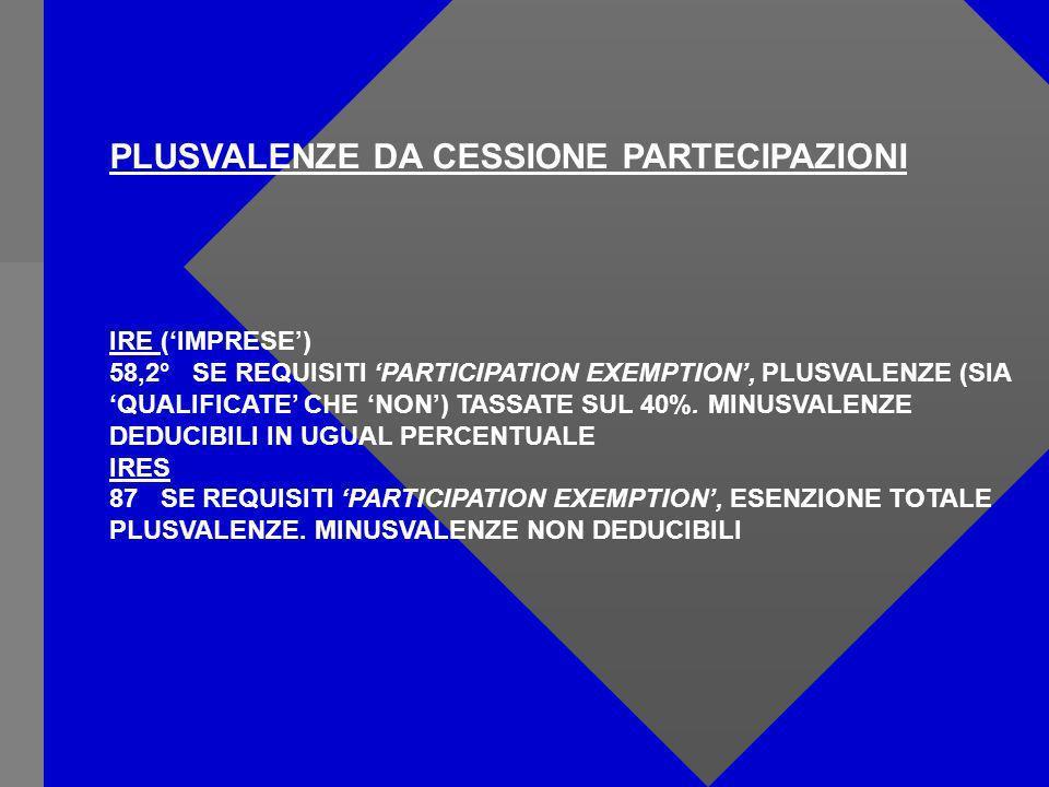 PLUSVALENZE DA CESSIONE PARTECIPAZIONI IRE (IMPRESE) 58,2° SE REQUISITI PARTICIPATION EXEMPTION, PLUSVALENZE (SIA QUALIFICATE CHE NON) TASSATE SUL 40%.