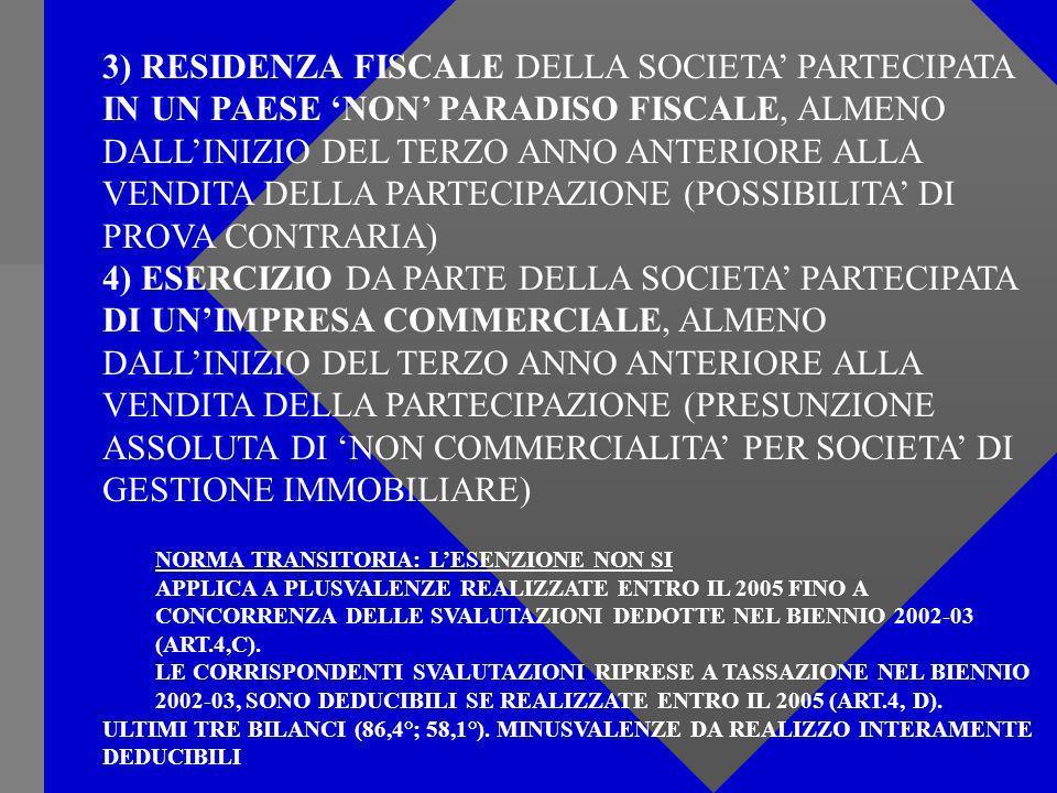 3) RESIDENZA FISCALE DELLA SOCIETA PARTECIPATA IN UN PAESE NON PARADISO FISCALE, ALMENO DALLINIZIO DEL TERZO ANNO ANTERIORE ALLA VENDITA DELLA PARTECIPAZIONE (POSSIBILITA DI PROVA CONTRARIA) 4) ESERCIZIO DA PARTE DELLA SOCIETA PARTECIPATA DI UNIMPRESA COMMERCIALE, ALMENO DALLINIZIO DEL TERZO ANNO ANTERIORE ALLA VENDITA DELLA PARTECIPAZIONE (PRESUNZIONE ASSOLUTA DI NON COMMERCIALITA PER SOCIETA DI GESTIONE IMMOBILIARE) NORMA TRANSITORIA: LESENZIONE NON SI APPLICA A PLUSVALENZE REALIZZATE ENTRO IL 2005 FINO A CONCORRENZA DELLE SVALUTAZIONI DEDOTTE NEL BIENNIO 2002-03 (ART.4,C).