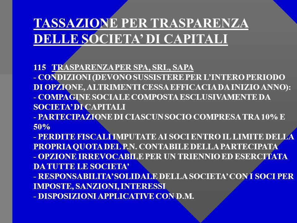 TASSAZIONE PER TRASPARENZA DELLE SOCIETA DI CAPITALI 115 TRASPARENZA PER SPA, SRL, SAPA - CONDIZIONI (DEVONO SUSSISTERE PER LINTERO PERIODO DI OPZIONE, ALTRIMENTI CESSA EFFICACIA DA INIZIO ANNO): - COMPAGINE SOCIALE COMPOSTA ESCLUSIVAMENTE DA SOCIETA DI CAPITALI - PARTECIPAZIONE DI CIASCUN SOCIO COMPRESA TRA 10% E 50% - PERDITE FISCALI IMPUTATE AI SOCI ENTRO IL LIMITE DELLA PROPRIA QUOTA DEL P.N.