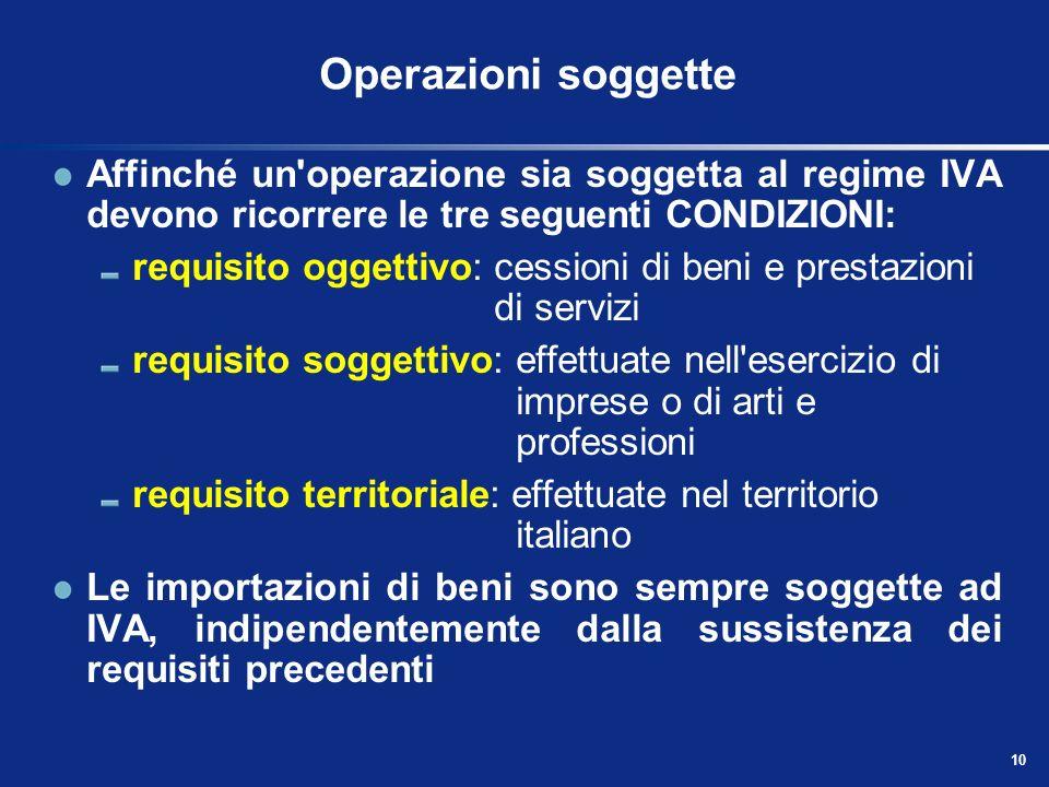 9 Regime delle operazioni ai fini dellIva Ai fini dell'imposta sul valore aggiunto (ex D.P.R. n. 633/72) le operazioni sono così classificabili: opera