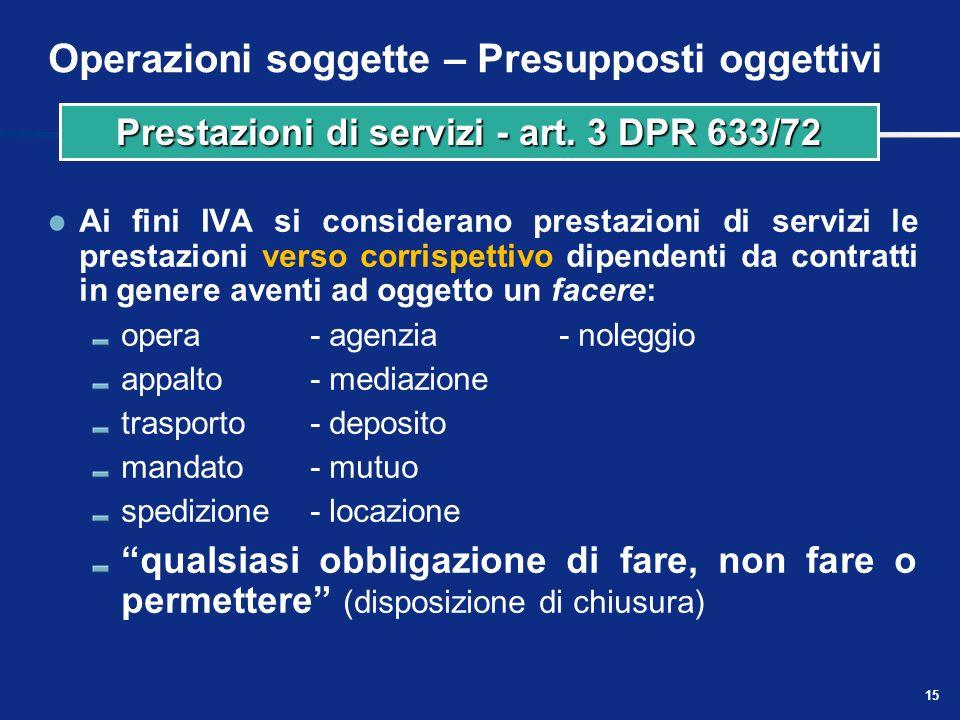 14 Operazioni soggette – Presupposti oggettivi Non sono considerate cessioni di beni: le cessioni e i conferimenti in società o altri enti (compresi i