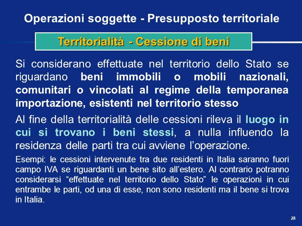 Operazioni soggette - Presupposto territoriale Regola generale Immobili Mobili Eccezioni Cessioni di beni a bordo di una nave, treno o aereo Cessioni