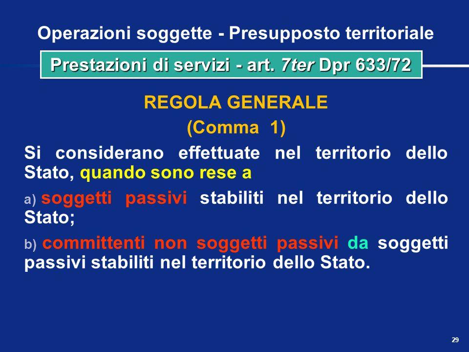 28 Operazioni soggette - Presupposto territoriale Si considerano effettuate nel territorio dello Stato se riguardano beni immobili o mobili nazionali,