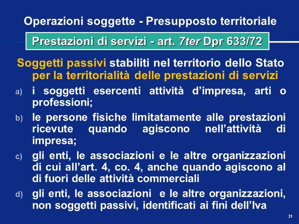 30 Presupposto territoriale delle prestazioni di servizi Regola generale Quadro di sintesi: servizi in genere NaturaPrestatoreCommittenteRegola Serviz