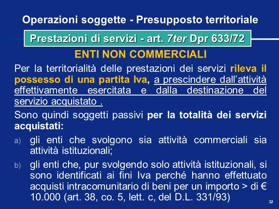 Operazioni soggette - Presupposto territoriale Soggetti passivi stabiliti nel territorio dello Stato per la territorialità delle prestazioni di serviz