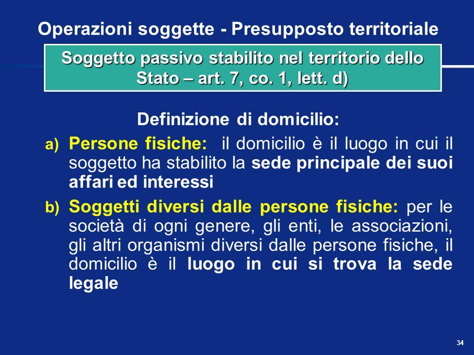 33 Operazioni soggette - Presupposto territoriale Con lespressione si intende il soggetto passivo: a) domiciliato nel territorio dello Stato b) reside