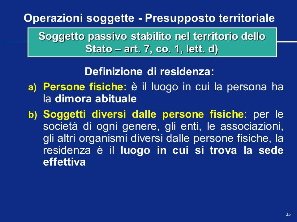 34 Operazioni soggette - Presupposto territoriale Definizione di domicilio: a) Persone fisiche: il domicilio è il luogo in cui il soggetto ha stabilit