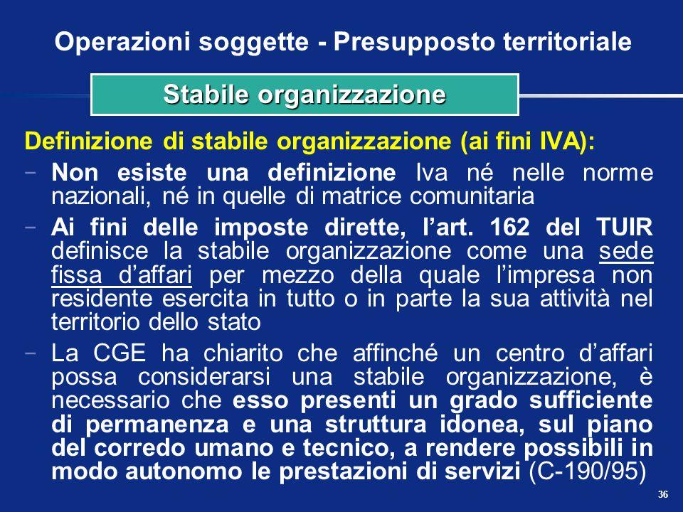 35 Operazioni soggette - Presupposto territoriale Definizione di residenza: a) Persone fisiche: è il luogo in cui la persona ha la dimora abituale b)