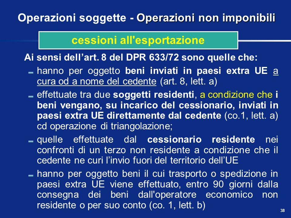 37 Presupposto territoriale delle prestazioni di servizi Regola generale Quadro di sintesi: servizi in genere NaturaPrestatoreCommittenteRegola Serviz