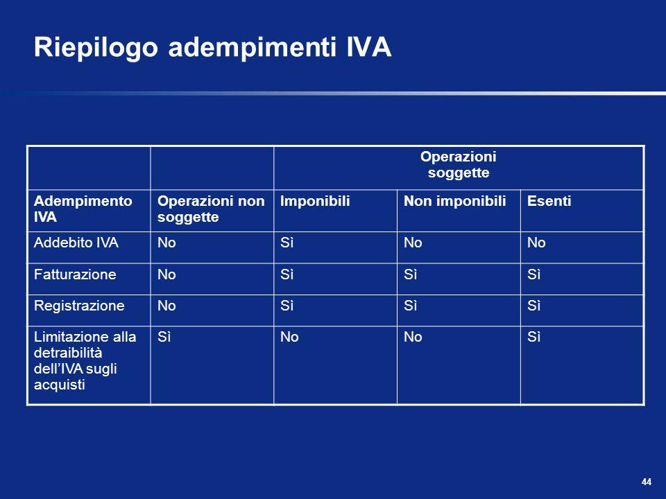 43 Operazioni non soggette Non sono soggette ad alcun adempimento IVA (fatturazione, registrazione, ecc.) Le operazioni non soggette non devono compar