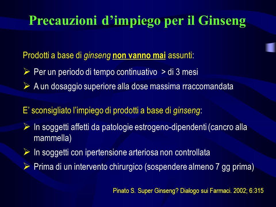 Precauzioni dimpiego per il Ginseng Prodotti a base di ginseng non vanno mai assunti: Per un periodo di tempo continuativo > di 3 mesi A un dosaggio s