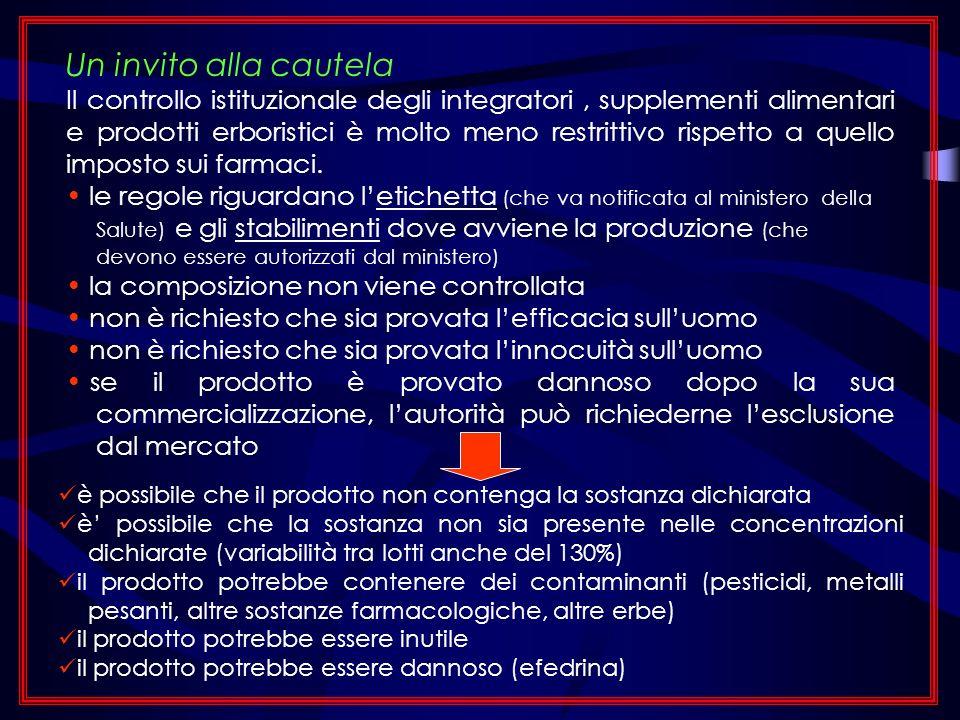 Un invito alla cautela Il controllo istituzionale degli integratori, supplementi alimentari e prodotti erboristici è molto meno restrittivo rispetto a