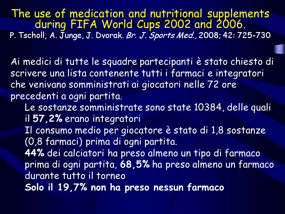 The use of medication and nutritional supplements during FIFA World Cups 2002 and 2006. P. Tscholl, A. Junge, J. Dvorak. Br. J. Sports Med., 2008; 42: