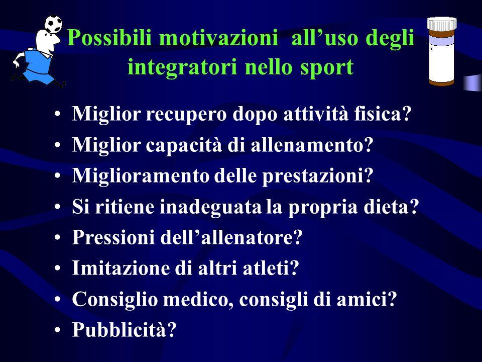 Possibili motivazioni alluso degli integratori nello sport Miglior recupero dopo attività fisica? Miglior capacità di allenamento? Miglioramento delle