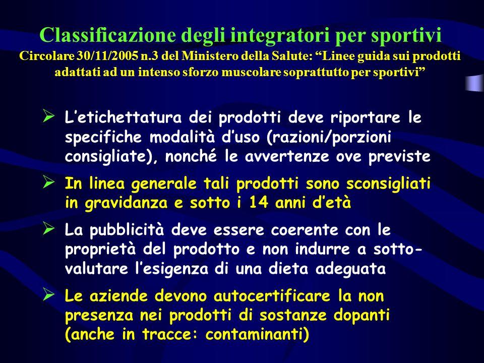 Classificazione degli integratori per sportivi Circolare 30/11/2005 n.3 del Ministero della Salute: Linee guida sui prodotti adattati ad un intenso sf