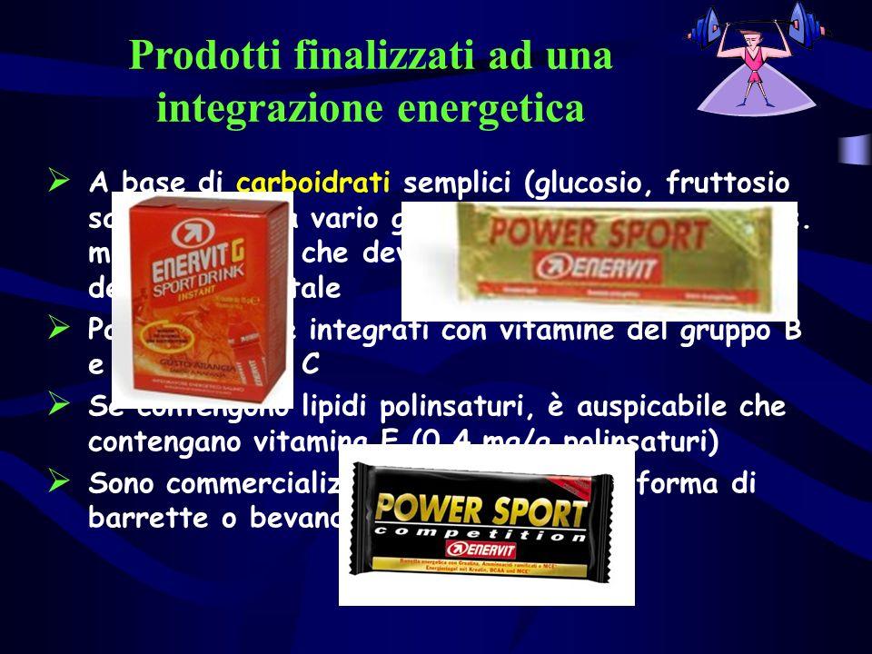 Prodotti finalizzati ad una integrazione energetica A base di carboidrati semplici (glucosio, fruttosio saccarosio) o a vario grado di polimerizzazion