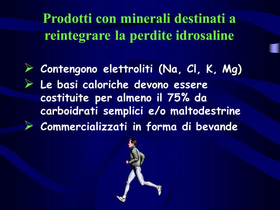 Prodotti con minerali destinati a reintegrare la perdite idrosaline Contengono elettroliti (Na, Cl, K, Mg) Le basi caloriche devono essere costituite