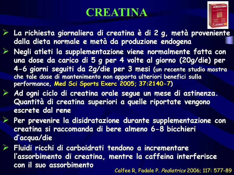CREATINA La richiesta giornaliera di creatina è di 2 g, metà proveniente dalla dieta normale e metà da produzione endogena Negli atleti la supplementa