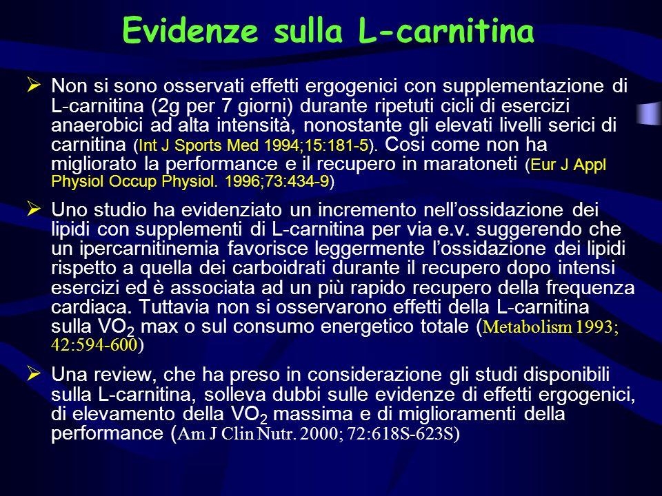 Evidenze sulla L-carnitina Non si sono osservati effetti ergogenici con supplementazione di L-carnitina (2g per 7 giorni) durante ripetuti cicli di es