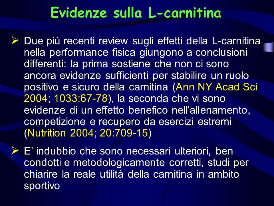Evidenze sulla L-carnitina Due più recenti review sugli effetti della L-carnitina nella performance fisica giungono a conclusioni differenti: la prima