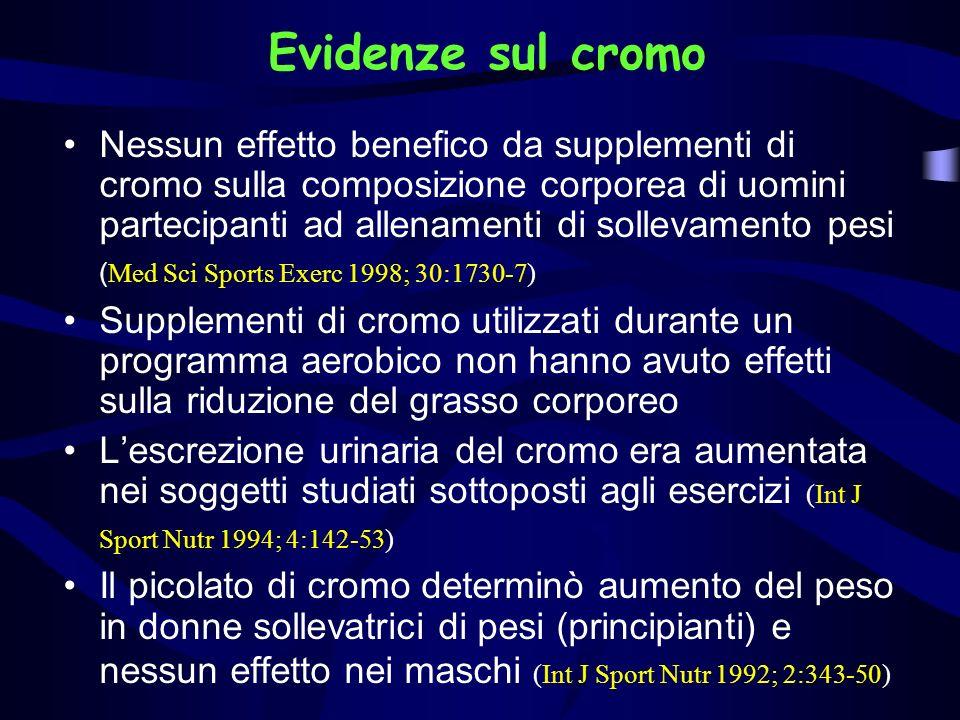 Evidenze sul cromo Nessun effetto benefico da supplementi di cromo sulla composizione corporea di uomini partecipanti ad allenamenti di sollevamento p