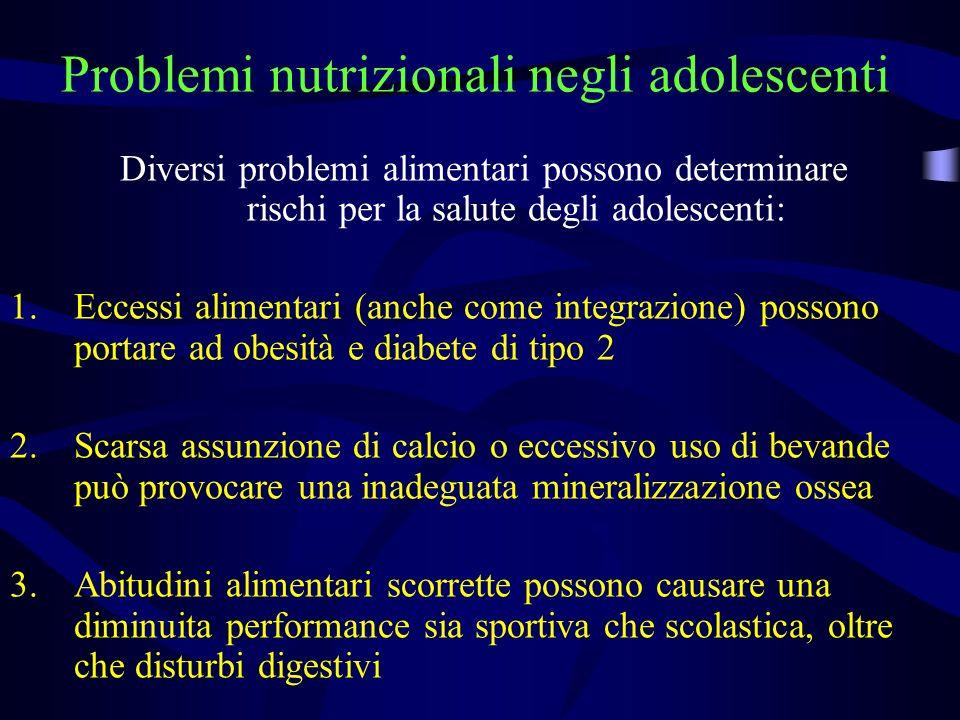 Problemi nutrizionali negli adolescenti Diversi problemi alimentari possono determinare rischi per la salute degli adolescenti: 1.Eccessi alimentari (