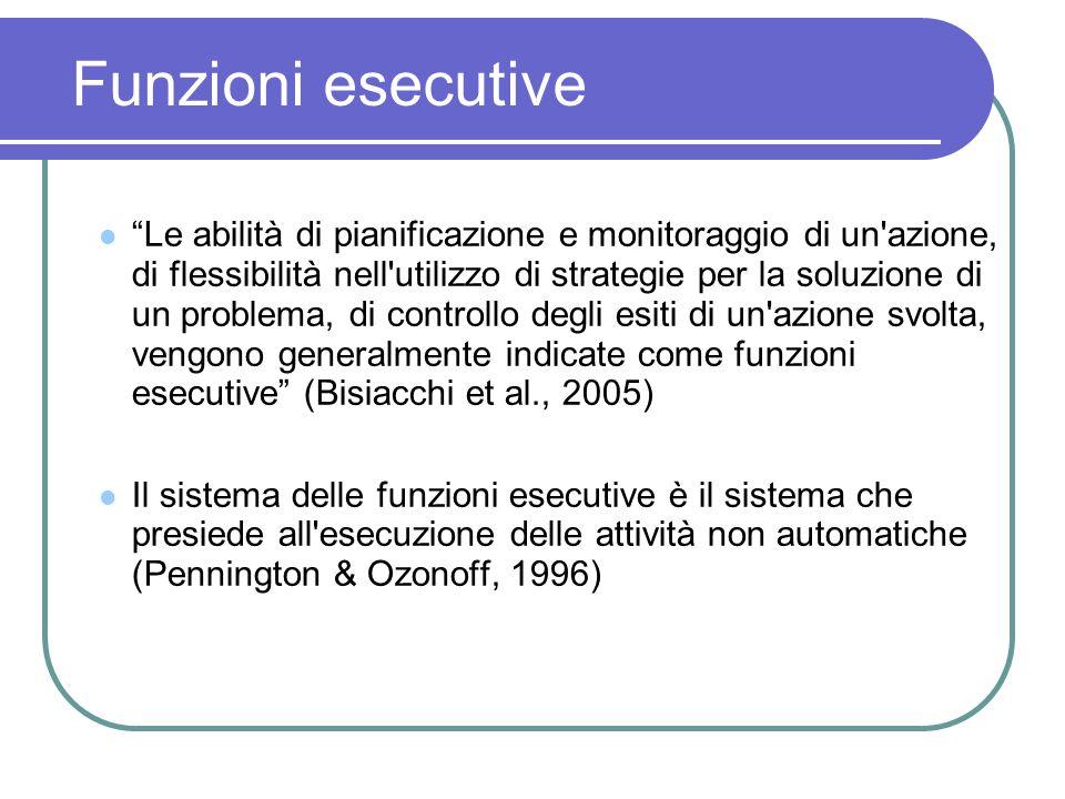 Funzioni esecutive Le abilità di pianificazione e monitoraggio di un'azione, di flessibilità nell'utilizzo di strategie per la soluzione di un problem