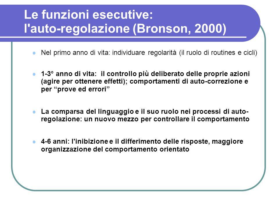 Le funzioni esecutive: l'auto-regolazione (Bronson, 2000) Nel primo anno di vita: individuare regolarità (il ruolo di routines e cicli) 1-3° anno di v
