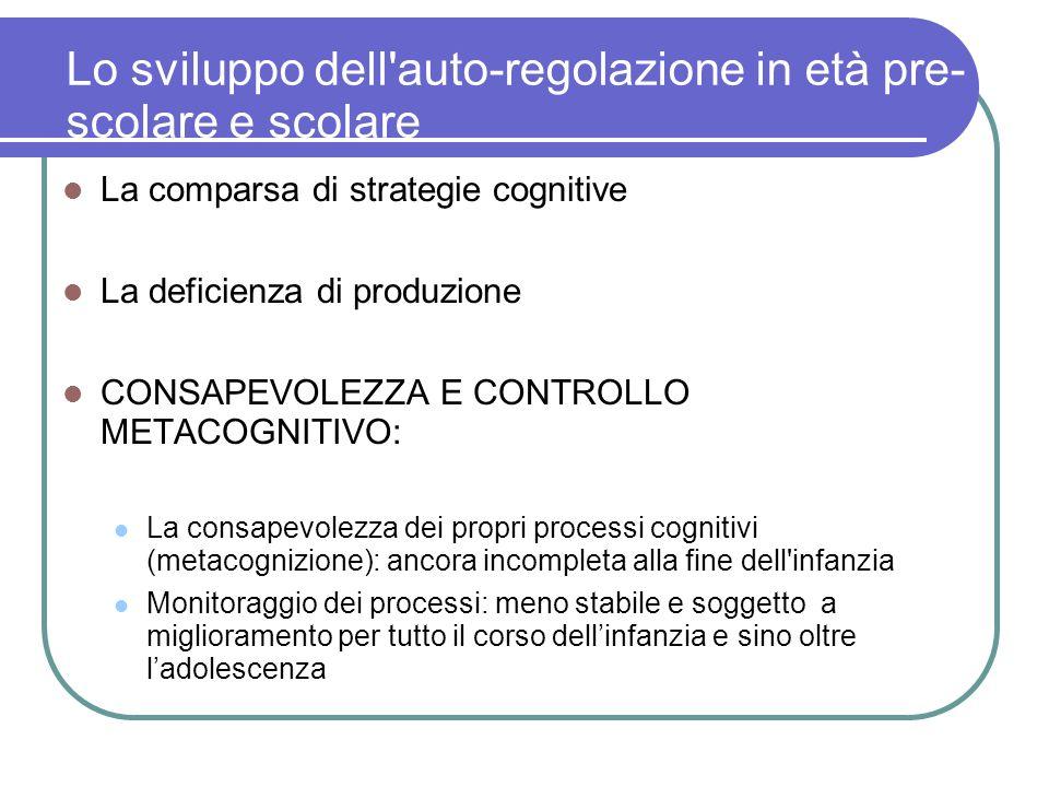 Lo sviluppo dell'auto-regolazione in età pre- scolare e scolare La comparsa di strategie cognitive La deficienza di produzione CONSAPEVOLEZZA E CONTRO