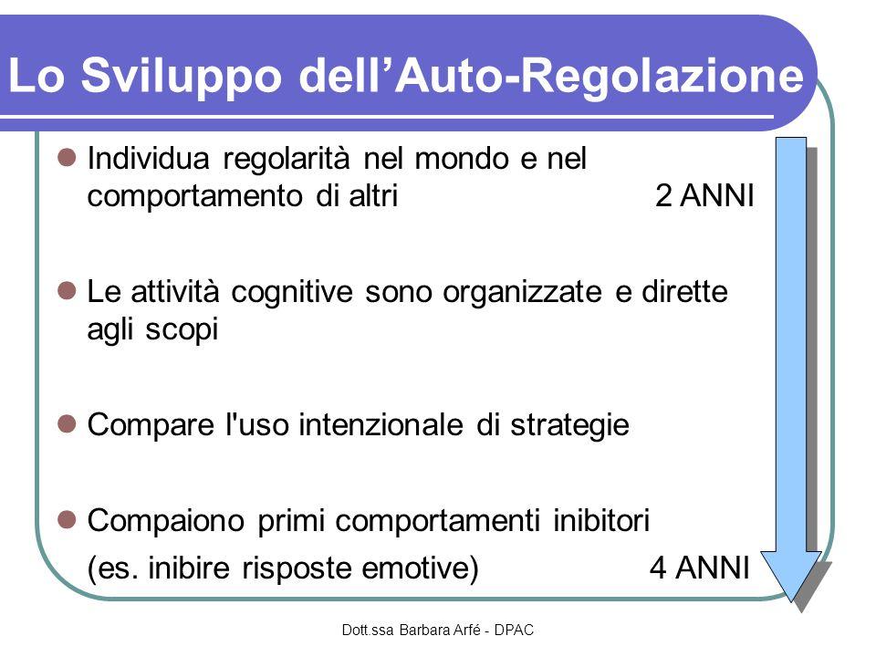 Lo Sviluppo dellAuto-Regolazione Individua regolarità nel mondo e nel comportamento di altri2 ANNI Le attività cognitive sono organizzate e dirette ag
