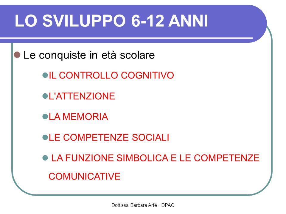 LO SVILUPPO 6-12 ANNI Le conquiste in età scolare IL CONTROLLO COGNITIVO L'ATTENZIONE LA MEMORIA LE COMPETENZE SOCIALI LA FUNZIONE SIMBOLICA E LE COMP