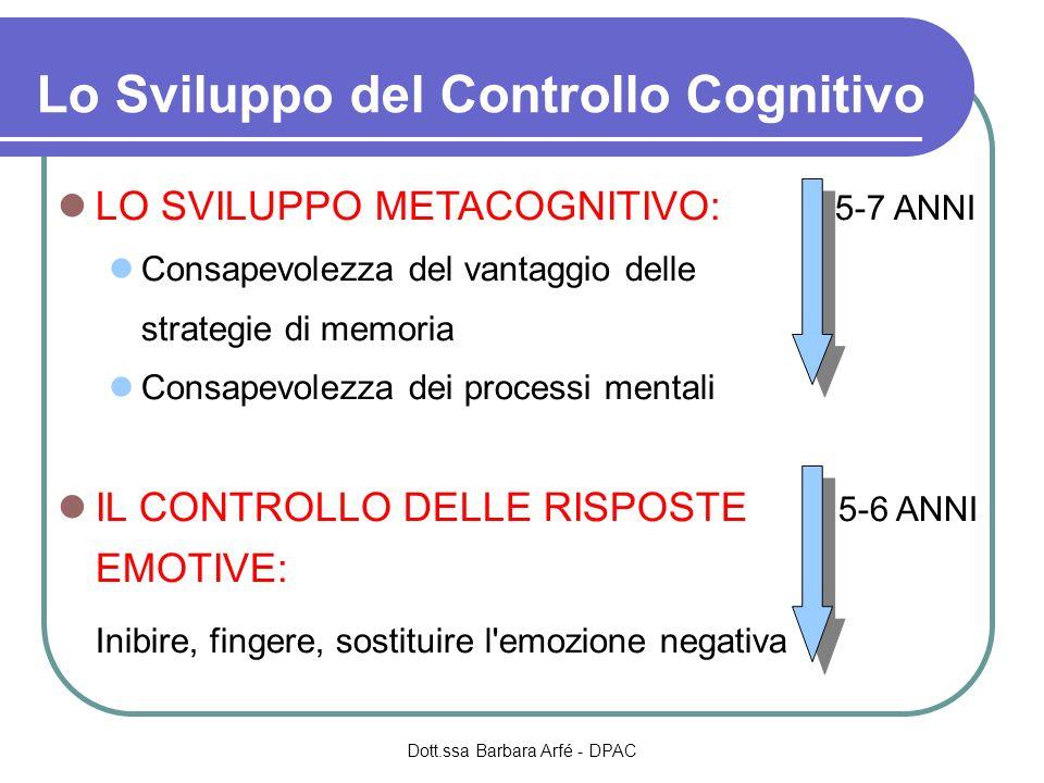 Lo Sviluppo del Controllo Cognitivo LO SVILUPPO METACOGNITIVO: 5-7 ANNI Consapevolezza del vantaggio delle strategie di memoria Consapevolezza dei processi mentali IL CONTROLLO DELLE RISPOSTE 5-6 ANNI EMOTIVE: Inibire, fingere, sostituire l emozione negativa Dott.ssa Barbara Arfé - DPAC