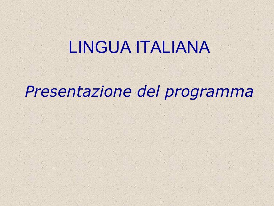 Presentazione del programma e modalità desame 1.