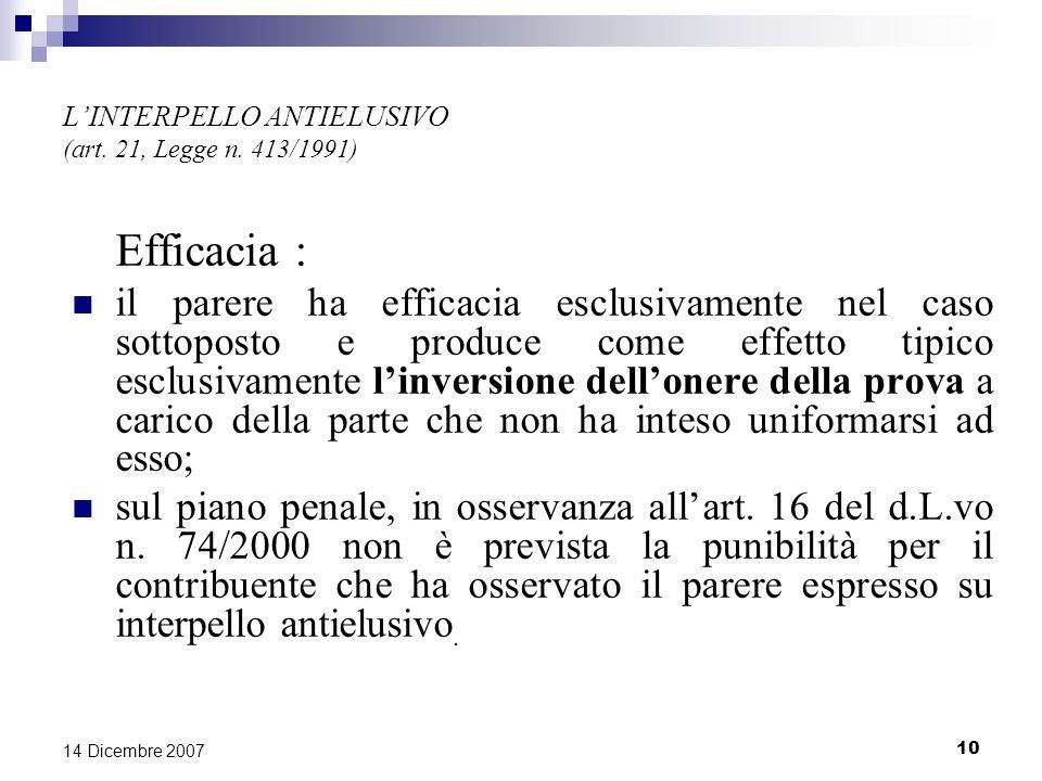 10 14 Dicembre 2007 LINTERPELLO ANTIELUSIVO (art.21, Legge n.