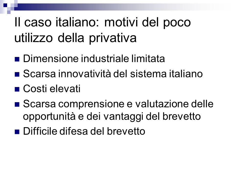 Il caso italiano: motivi del poco utilizzo della privativa Dimensione industriale limitata Scarsa innovatività del sistema italiano Costi elevati Scarsa comprensione e valutazione delle opportunità e dei vantaggi del brevetto Difficile difesa del brevetto