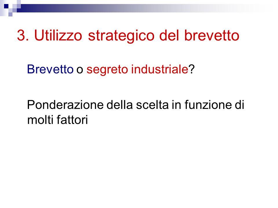 3. Utilizzo strategico del brevetto Brevetto o segreto industriale.