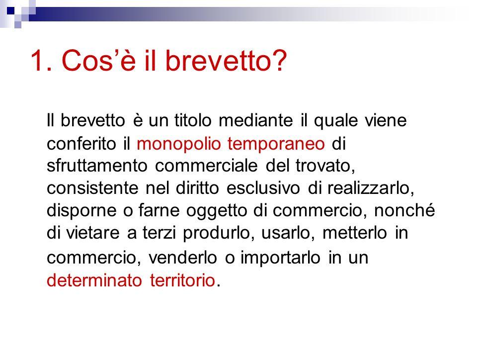 Caratteristiche fondamentali: Temporaneità: durata massima della privativa: 20 anni Territorialità: definizione strategica del dove brevettare