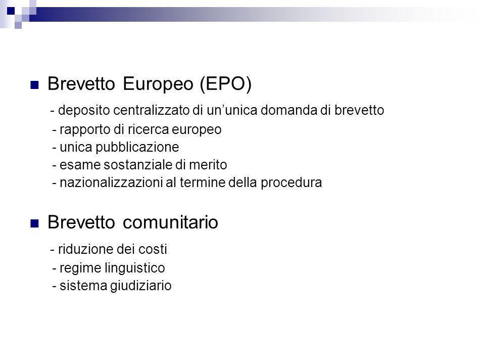 Brevetto Europeo (EPO) - deposito centralizzato di ununica domanda di brevetto - rapporto di ricerca europeo - unica pubblicazione - esame sostanziale di merito - nazionalizzazioni al termine della procedura Brevetto comunitario - riduzione dei costi - regime linguistico - sistema giudiziario
