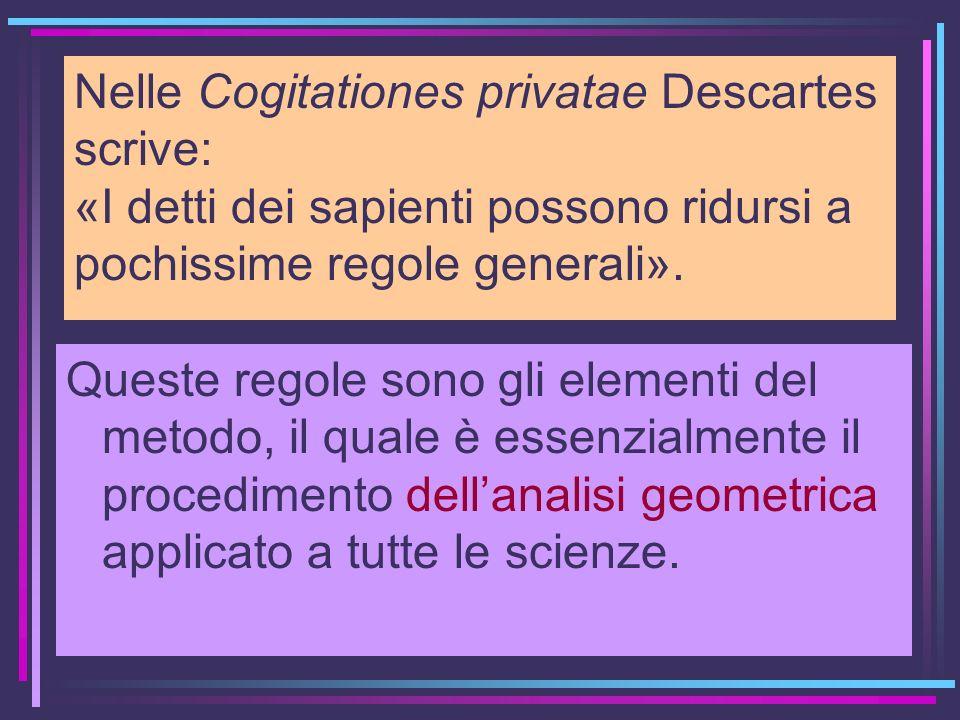 Nelle Cogitationes privatae Descartes scrive: «I detti dei sapienti possono ridursi a pochissime regole generali». Queste regole sono gli elementi del