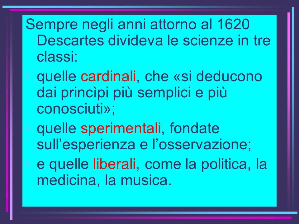 Sempre negli anni attorno al 1620 Descartes divideva le scienze in tre classi: quelle cardinali, che «si deducono dai princìpi più semplici e più cono