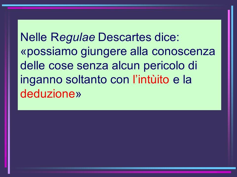 Nelle Regulae Descartes dice: «possiamo giungere alla conoscenza delle cose senza alcun pericolo di inganno soltanto con lintùito e la deduzione»
