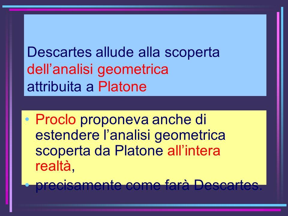 Descartes allude alla scoperta dellanalisi geometrica attribuita a Platone Proclo proponeva anche di estendere lanalisi geometrica scoperta da Platone