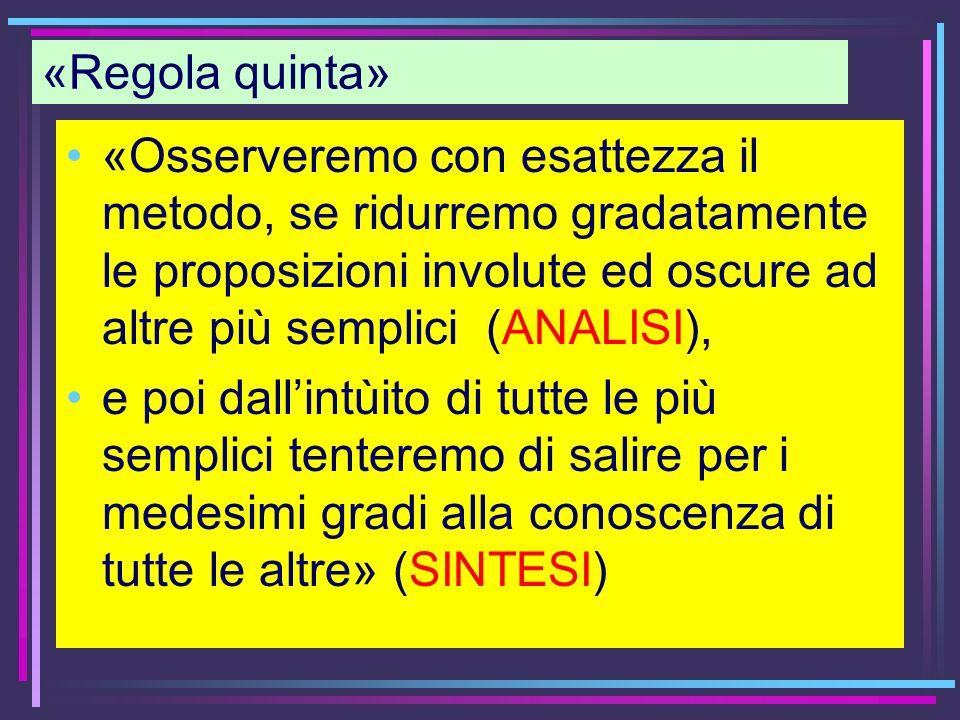 «Regola quinta» «Osserveremo con esattezza il metodo, se ridurremo gradatamente le proposizioni involute ed oscure ad altre più semplici (ANALISI), e