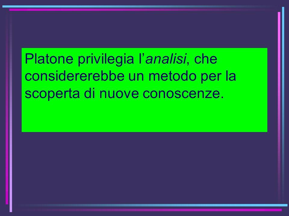 Platone privilegia lanalisi, che considererebbe un metodo per la scoperta di nuove conoscenze.