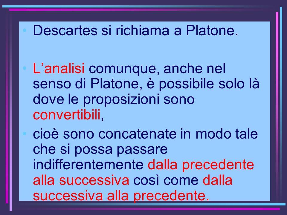 Descartes si richiama a Platone. Lanalisi comunque, anche nel senso di Platone, è possibile solo là dove le proposizioni sono convertibili, cioè sono