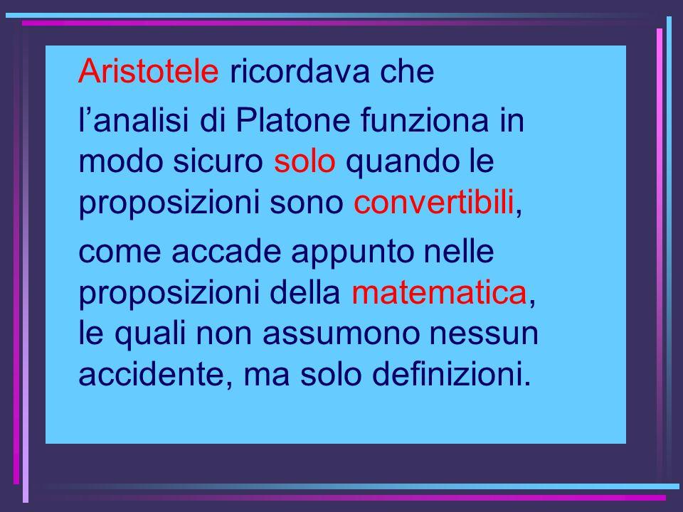 Aristotele ricordava che lanalisi di Platone funziona in modo sicuro solo quando le proposizioni sono convertibili, come accade appunto nelle proposiz